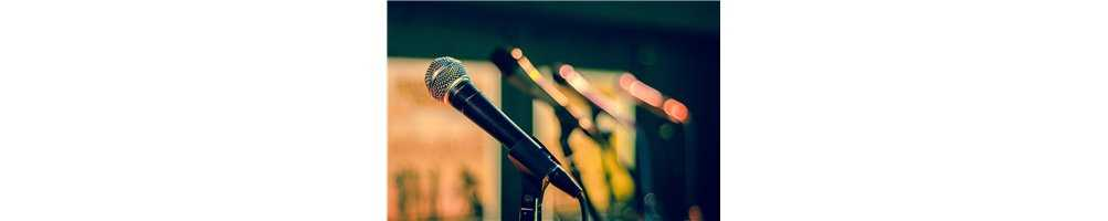 Micrófonos diadema, de mano, dinámicos